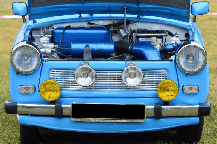 vintage car with fog lights
